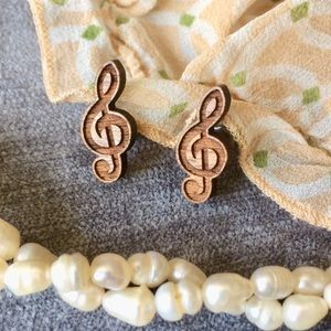 Jewelry - Carved Wood Treble Clef Post Earrings